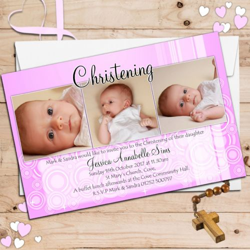10 Personalised Girls Christening Baptism Invitations PHOTO Invites N28